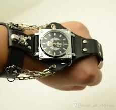 mens bracelet wrist watches images Attractive stylish black punk rock chain skull watches women men jpg
