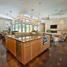 Split Level Kitchen Island by Glorious Concrete Floor Living Room Ideas Sunroom Contemporary