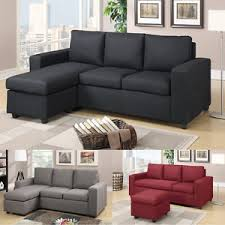 Reversible Sectional Sofa Modern Carmine Black Gray Linen Textured Fabric Reversible