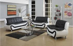 Frady  Pc Black And White Faux Leather Modern Living Room Sofa - Black modern living room sets