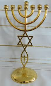 menorah 7 candles gold messianic hebraic roots seven branch temple menorah 9 inches