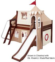 maxtrix low loft bed chestnut with curtains slide tower u0026 tent
