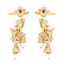earrings in grt earrings bell flower design diamond earring online grt jewels