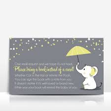 bring a book instead of a card baby shower book instead of a card blue elephant umbrella on grey event press
