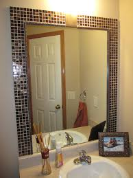 Decorative Mirrors For Bathrooms Traditional Black Stained Teak Wood Frame Mirror On Painted