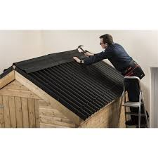 How To Re Roof A Shed With Onduline Corrugated Roofing Sheets by Coroline Black Corrugated Bitumen Roof Sheet 2m At Homebase Co Uk