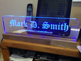 led lighted desk name plate with walnut base by mark smith