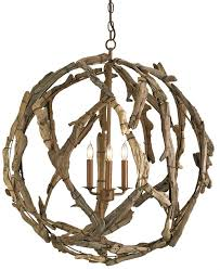 Orb Chandeliers Driftwood Orb Chandelier Lighting Currey And Company