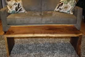 waterfall coffee table wood live edge walnut coffee table folded waterfall leg 48 l x 16 h x