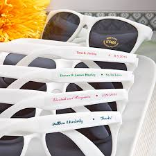 personalized white frame wedding sunglasses favors wedding