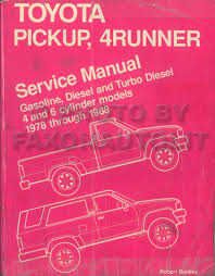 1978 1988 toyota pickup truck bentley repair shop manual gas and