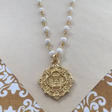communion necklace communion chalice pearl necklace the catholic company