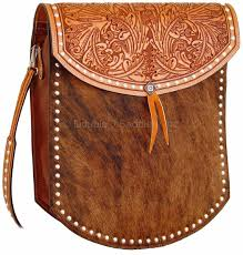 Cowhide Overnight Bag Brindle Cowhide U0026 Hand Tooled Bag Rb09
