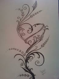 pictures easy pencil drawings of hearts and roses drawings art