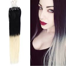 ombre extensions micro loop ring hair extensions two tones color 1 613 black to
