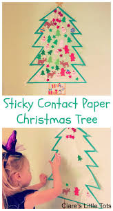 Paper Christmas Tree Crafts For Kids Sticky Contact Paper Christmas Tree Clare U0027s Little Tots
