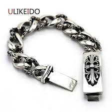 silver bracelet with cross charm images 100 pure 925 sterling silver bracelets men flower vintage hand jpg