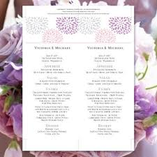 wedding menu card floral petals blush lavender silver tea length