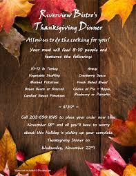 thanksgiving party flyer riverview bistro u0026 banquet facility stratford ct holidays