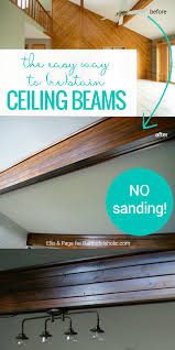 How To Install Laminate Flooring On Ceiling Remodelaholic How To Stain Wood Beams Without Sanding