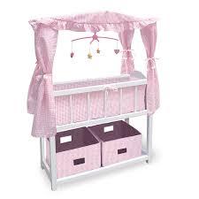 amazon com badger basket canopy doll crib with baskets bedding