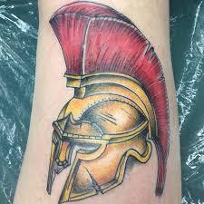 roman helmet tattoo by jared