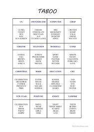 new taboo card game worksheet free esl printable worksheets made
