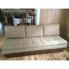 mid century tufted tan platform sofa u0026 ottoman chairish