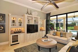 Wall Mounted Media Center Family Room Beach Style With Builtin - Family room entertainment