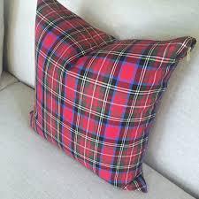 cherry red tartan pillow cover tartan pillow christmas plaid
