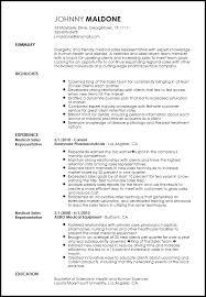 Resume Medical Representative Medical Representative Sample Resume Obviously Collect Ml