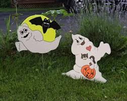 Halloween Yard Decorations Dog Skeleton by Halloween Cat U0026 Dog Skeletons Yard Art Wood Painted Halloween
