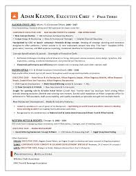 Chef Resume Objective Sample Executive Chef Resume Gallery Creawizard Com
