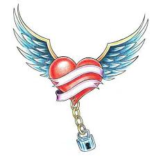 angel wings with lock heart tattoo design photo 3 photo