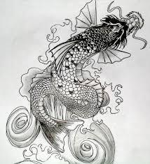 drawing fantastic dragon koi fish tattoo design tattooshunter com