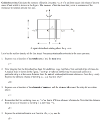 calculate the moment of inertia about the y axis o chegg com