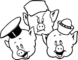 3 little pigs face coloring page wecoloringpage