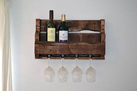 upcycled wooden wine rack with glass holders finished stained