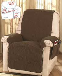 brown fleece recliner cover protector with storage pockets soft