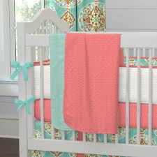Aqua And Pink Crib Bedding by Beautiful Coral Baby Blanket Home Inspirations Design