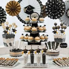 Black And White Candy Buffet Ideas by Graduation Year Candy Cups Idea Classy Grad Treat Table Ideas