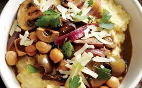 cooking light diet recipes creamy polenta with mushrooms chickpeas and olives from the