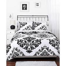 Black And White Damask Duvet Cover Queen Classic Noir Reversible Comforter Set Walmart Com