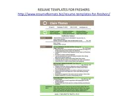 Resume Templates For Freshers Resume Formats