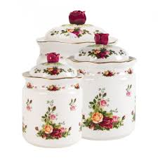 Country Canister Sets For Kitchen Old Country Roses Canisters Set Of 3 Royal Albert Us