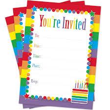 amazon com rainbow cake birthday invitations for girls 20 count
