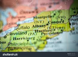 Albany New York Map by Closeup Albany New York On Political Stock Photo 373977457