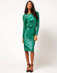 asos collection asos sequin cowl back dress in green lyst