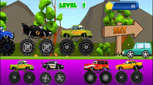 bigfoot presents meteor and the mighty monster trucks monster trucks kids racing green monster truck vs yellow monster