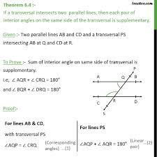 Same Side Interior Angles Definition Geometry Theorem 6 4 Class 9 Interior Angles On Same Side Of Transversal